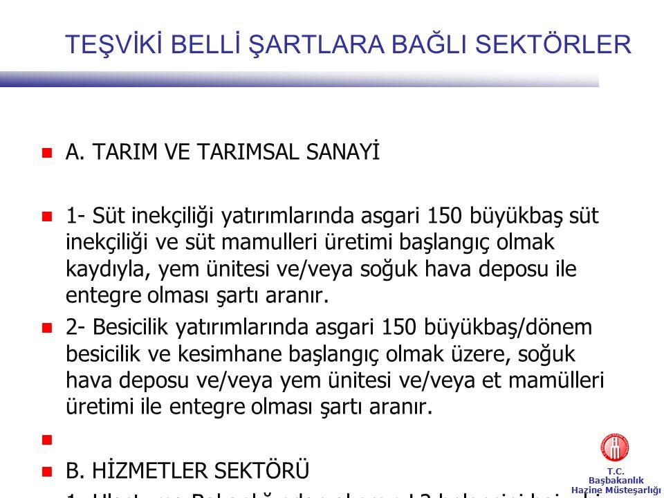 T.C. Başbakanlık Hazine Müsteşarlığı TEŞVİKİ BELLİ ŞARTLARA BAĞLI SEKTÖRLER A.