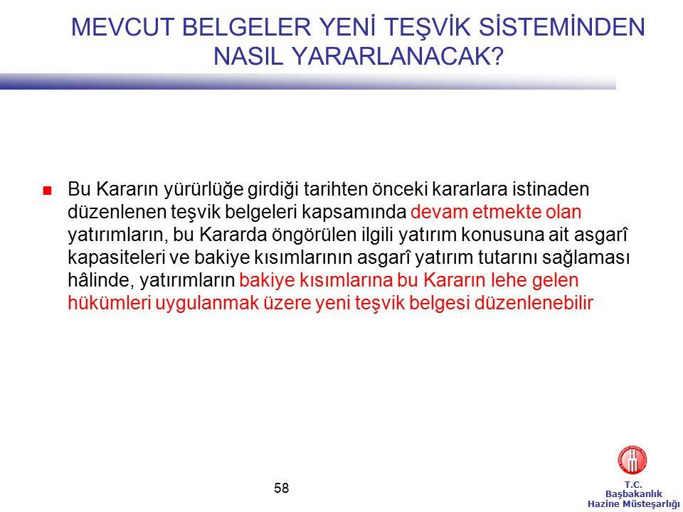 T.C. Başbakanlık Hazine Müsteşarlığı 58 MEVCUT BELGELER YENİ TEŞVİK SİSTEMİNDEN NASIL YARARLANACAK.