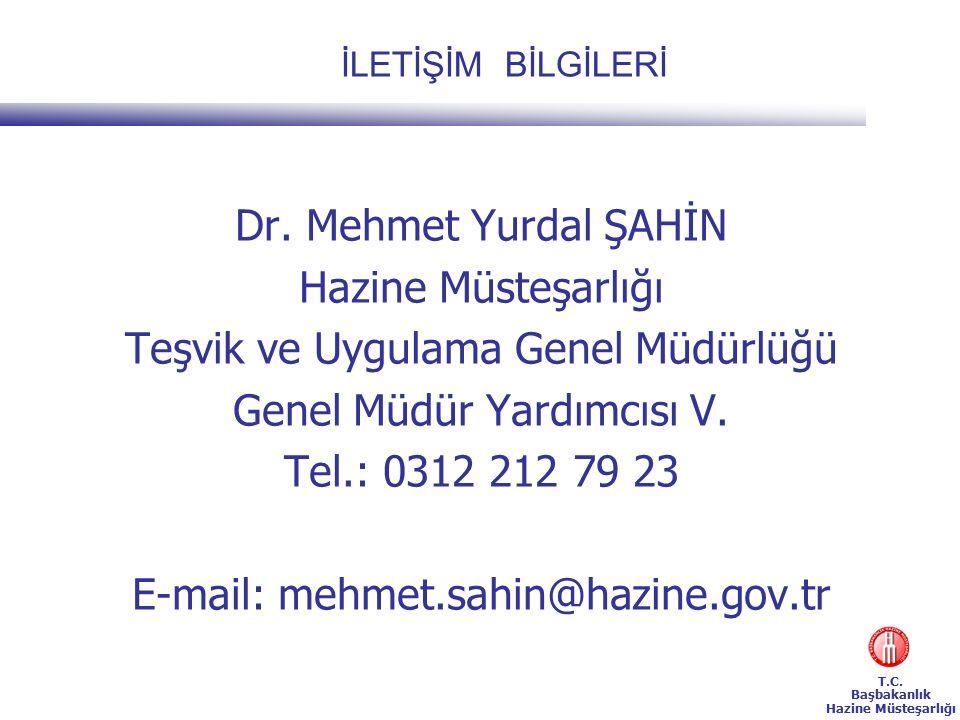T.C. Başbakanlık Hazine Müsteşarlığı İLETİŞİM BİLGİLERİ Dr.