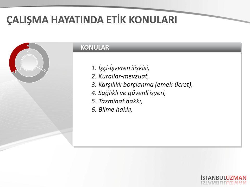 KONULARKONULAR 1.İşçi-İşveren ilişkisi, 2.Kurallar-mevzuat, 3.Karşılıklı borçlanma (emek-ücret), 4.Sağlıklı ve güvenli işyeri, 5.Tazminat hakkı, 6.Bilme hakkı, 1.İşçi-İşveren ilişkisi, 2.Kurallar-mevzuat, 3.Karşılıklı borçlanma (emek-ücret), 4.Sağlıklı ve güvenli işyeri, 5.Tazminat hakkı, 6.Bilme hakkı,