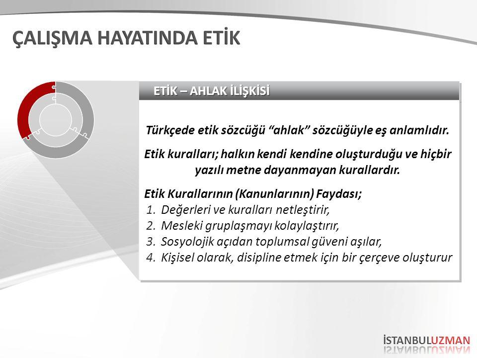 ETİK – AHLAK İLİŞKİSİ Türkçede etik sözcüğü ahlak sözcüğüyle eş anlamlıdır.