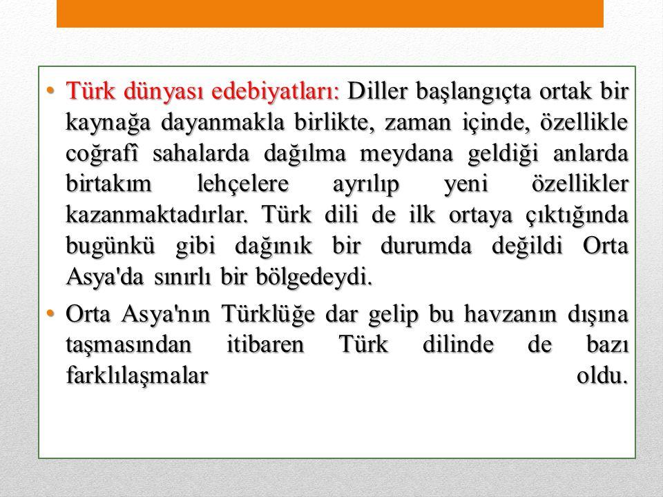 Türk dünyası edebiyatları: Diller başlangıçta ortak bir kaynağa dayanmakla birlikte, zaman içinde, özellikle coğrafî sahalarda dağılma meydana geldiği anlarda birtakım lehçelere ayrılıp yeni özellikler kazanmaktadırlar.