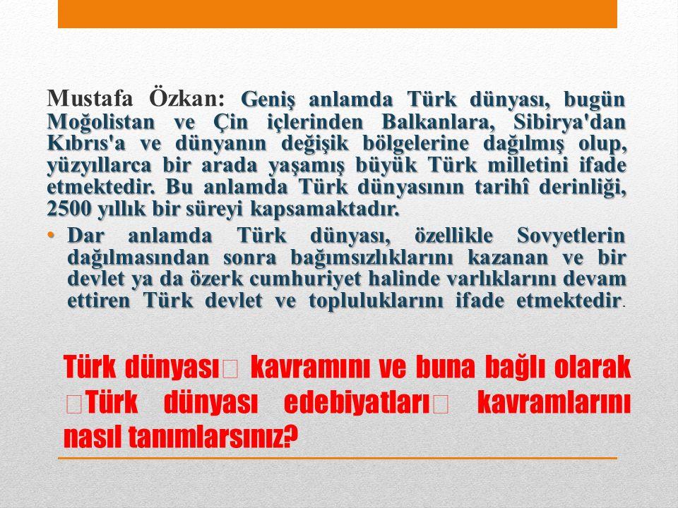 """Türk dünyası"""" kavramını ve buna bağlı olarak """"Türk dünyası edebiyatları"""" kavramlarını nasıl tanımlarsınız."""