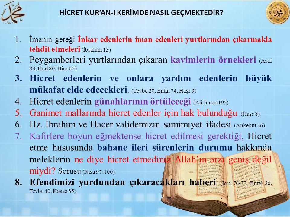 1.İmanın gereği İnkar edenlerin iman edenleri yurtlarından çıkarmakla tehdit etmeleri (İbrahim 13) 2.Peygamberleri yurtlarından çıkaran kavimlerin örn