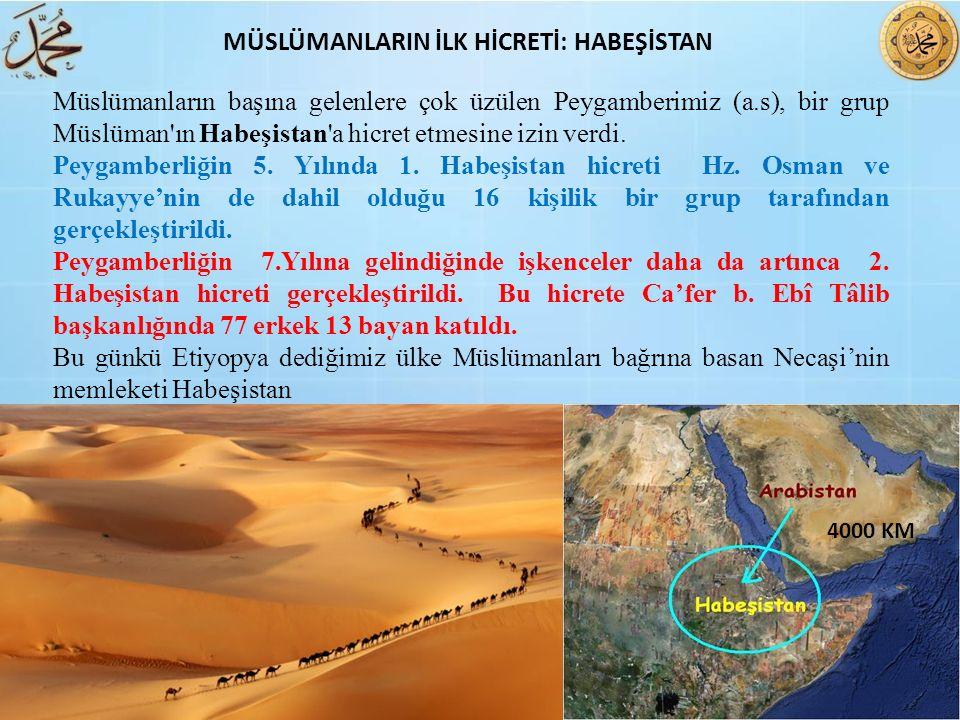 Müslümanların başına gelenlere çok üzülen Peygamberimiz (a.s), bir grup Müslüman'ın Habeşistan'a hicret etmesine izin verdi. Peygamberliğin 5. Yılında