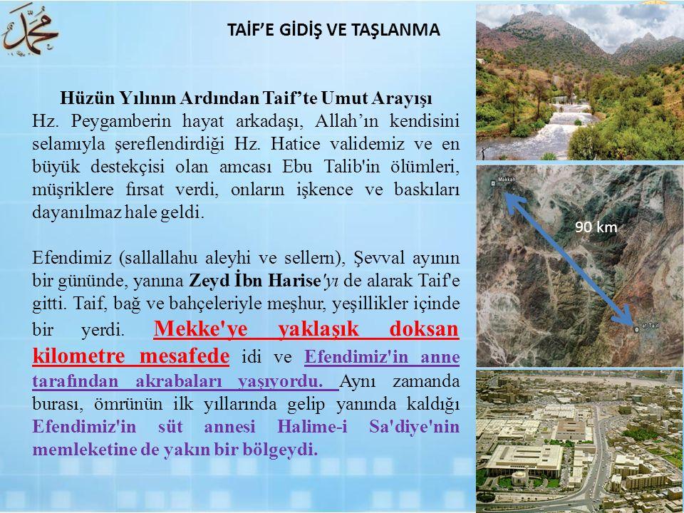 Hüzün Yılının Ardından Taif'te Umut Arayışı Hz. Peygamberin hayat arkadaşı, Allah'ın kendisini selamıyla şereflendirdiği Hz. Hatice validemiz ve en bü
