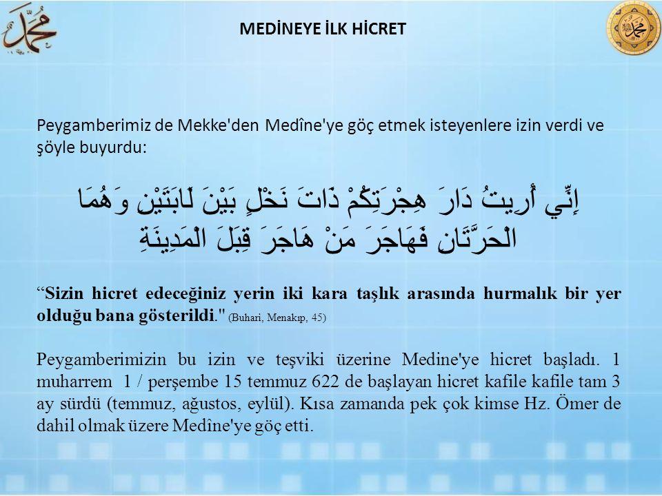 Peygamberimiz de Mekke'den Medîne'ye göç etmek isteyenlere izin verdi ve şöyle buyurdu: إِنِّي أُرِيتُ دَارَ هِجْرَتِكُمْ ذَاتَ نَخْلٍ بَيْنَ لَابَتَي