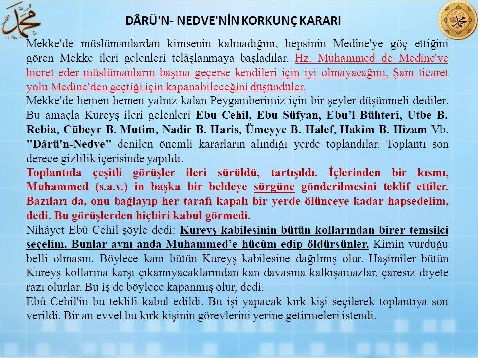 Mekke'de müslümanlardan kimsenin kalmadığını, hepsinin Medîne'ye göç ettiğini gören Mekke ileri gelenleri telâşlanmaya başladılar. Hz. Muhammed de Med