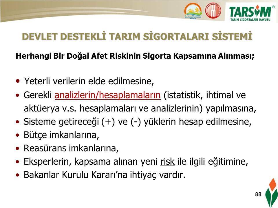88 Herhangi Bir Doğal Afet Riskinin Sigorta Kapsamına Alınması; Yeterli verilerin elde edilmesine, Gerekli analizlerin/hesaplamaların (istatistik, ihtimal ve aktüerya v.s.