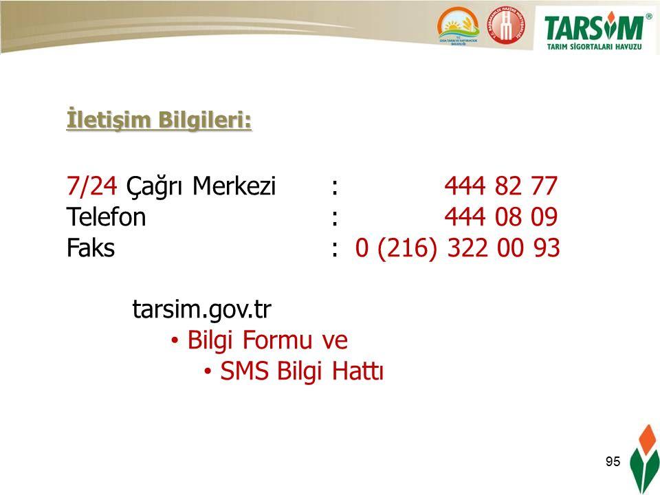 95 İletişim Bilgileri: 7/24 Çağrı Merkezi: 444 82 77 Telefon: 444 08 09 Faks : 0 (216) 322 00 93 tarsim.gov.tr Bilgi Formu ve SMS Bilgi Hattı
