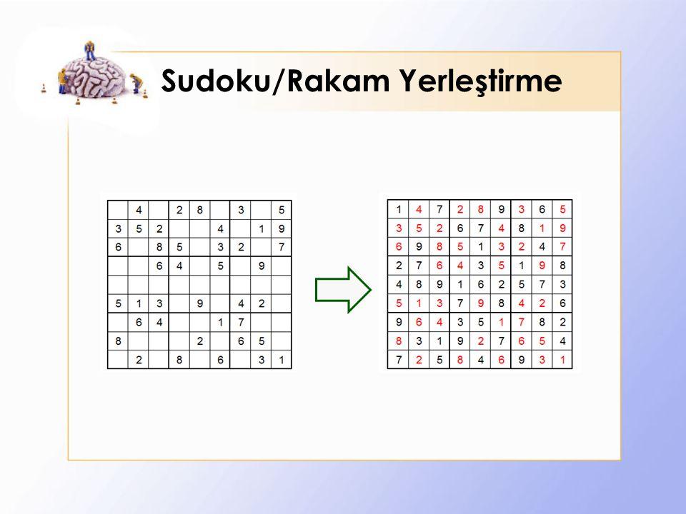 Sudoku/Rakam Yerleştirme