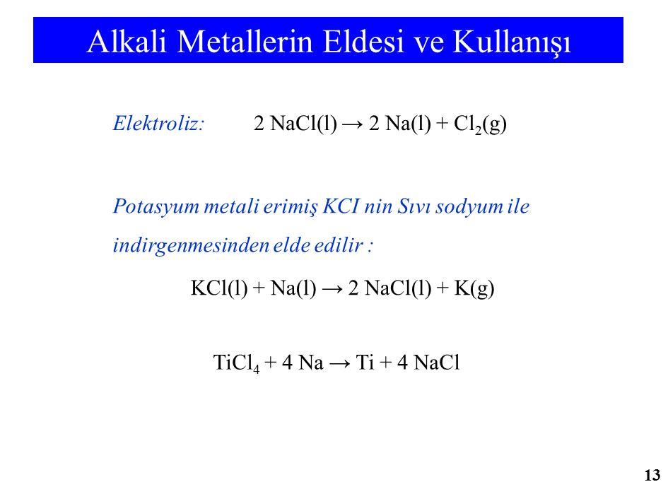 Alkali Metallerin Eldesi ve Kullanışı 2 NaCl(l) → 2 Na(l) + Cl 2 (g)Elektroliz: KCl(l) + Na(l) → 2 NaCl(l) + K(g) Potasyum metali erimiş KCI nin Sıvı