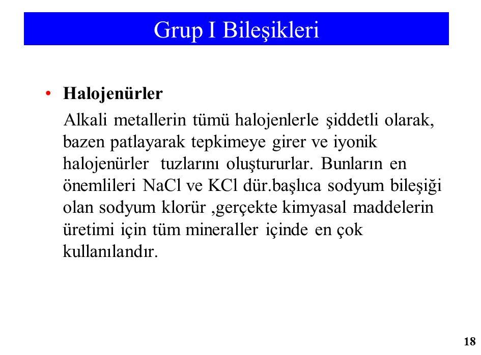 Grup I Bileşikleri Halojenürler Alkali metallerin tümü halojenlerle şiddetli olarak, bazen patlayarak tepkimeye girer ve iyonik halojenürler tuzlarını