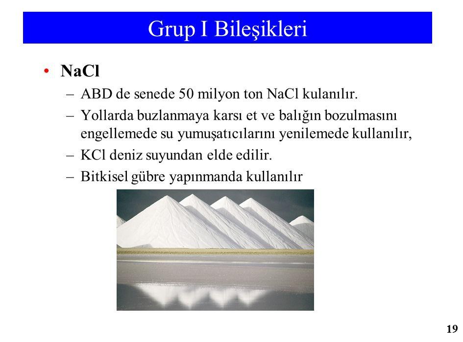 Grup I Bileşikleri NaCl –ABD de senede 50 milyon ton NaCl kulanılır. –Yollarda buzlanmaya karsı et ve balığın bozulmasını engellemede su yumuşatıcılar
