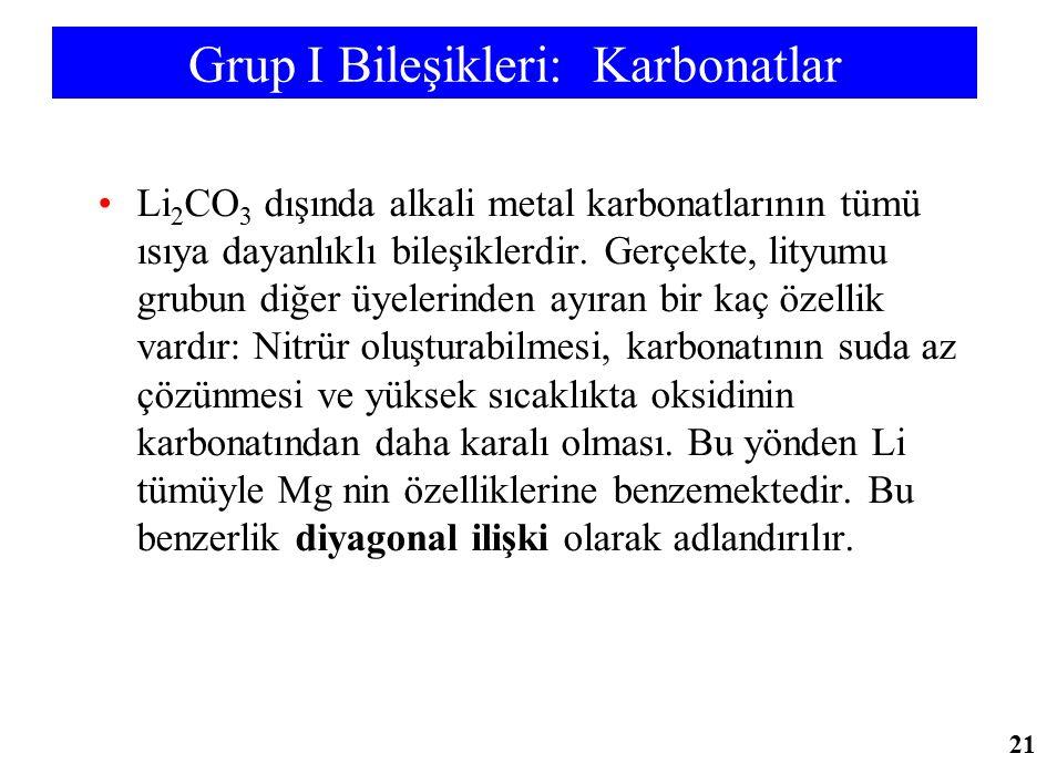 Grup I Bileşikleri: Karbonatlar Li 2 CO 3 dışında alkali metal karbonatlarının tümü ısıya dayanlıklı bileşiklerdir. Gerçekte, lityumu grubun diğer üye