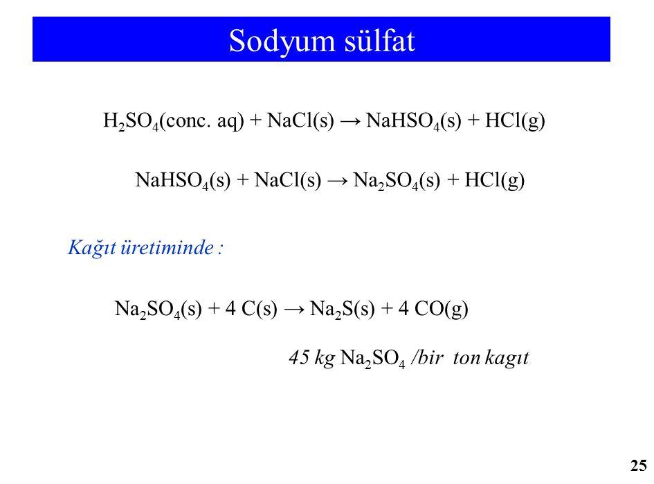 Sodyum sülfat H 2 SO 4 (conc. aq) + NaCl(s) → NaHSO 4 (s) + HCl(g) NaHSO 4 (s) + NaCl(s) → Na 2 SO 4 (s) + HCl(g) Kağıt üretiminde : Na 2 SO 4 (s) + 4