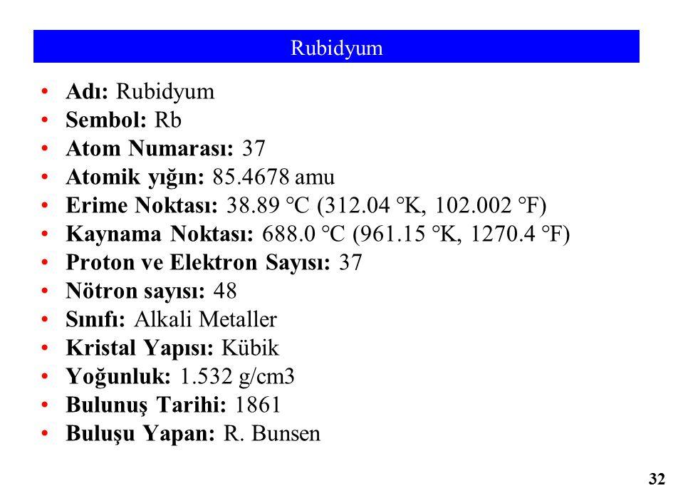 Rubidyum Adı: Rubidyum Sembol: Rb Atom Numarası: 37 Atomik yığın: 85.4678 amu Erime Noktası: 38.89 °C (312.04 °K, 102.002 °F) Kaynama Noktası: 688.0 °