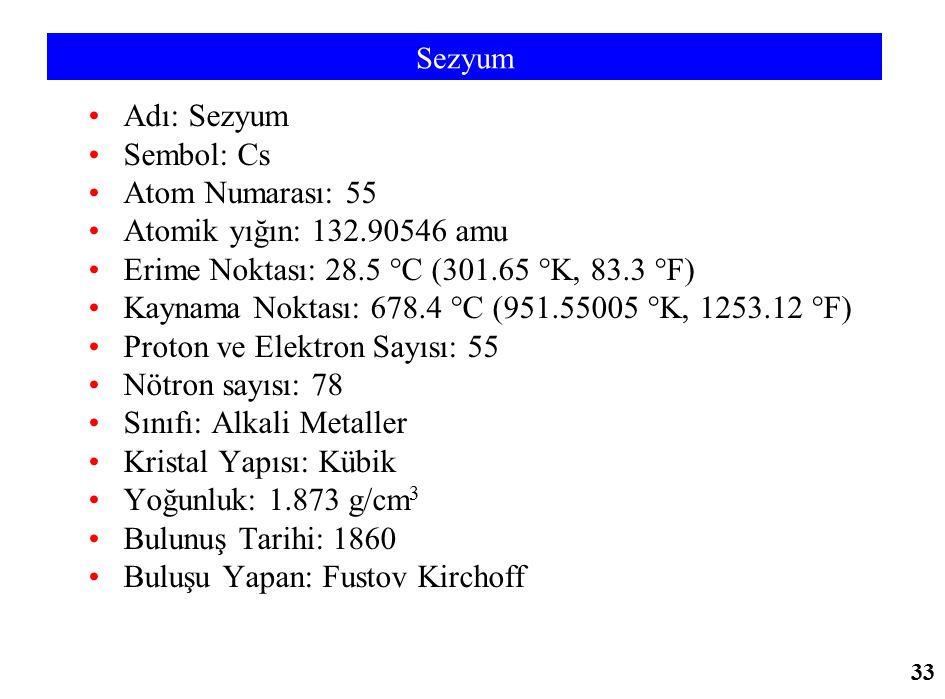 Sezyum Adı: Sezyum Sembol: Cs Atom Numarası: 55 Atomik yığın: 132.90546 amu Erime Noktası: 28.5 °C (301.65 °K, 83.3 °F) Kaynama Noktası: 678.4 °C (951
