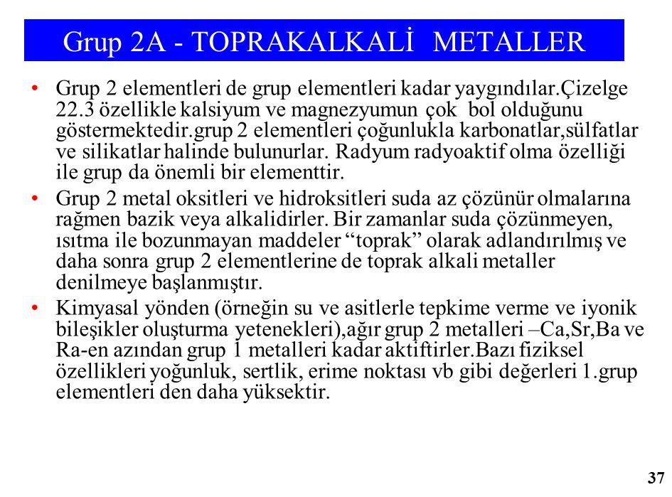 Grup 2A - TOPRAKALKALİ METALLER Grup 2 elementleri de grup elementleri kadar yaygındılar.Çizelge 22.3 özellikle kalsiyum ve magnezyumun çok bol olduğu