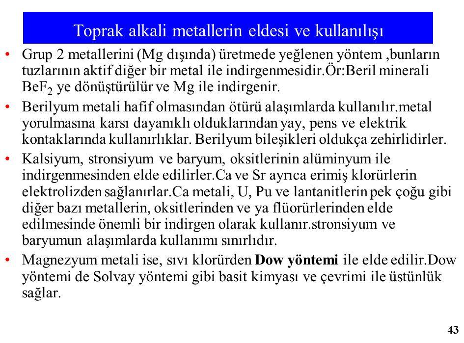 Toprak alkali metallerin eldesi ve kullanılışı Grup 2 metallerini (Mg dışında) üretmede yeğlenen yöntem,bunların tuzlarının aktif diğer bir metal ile