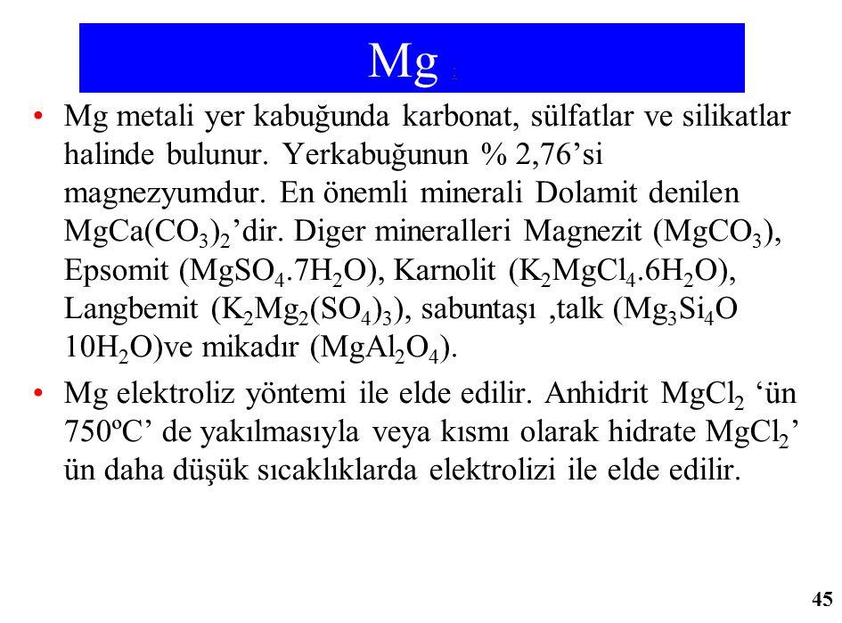 Mg : Mg metali yer kabuğunda karbonat, sülfatlar ve silikatlar halinde bulunur. Yerkabuğunun % 2,76'si magnezyumdur. En önemli minerali Dolamit denile