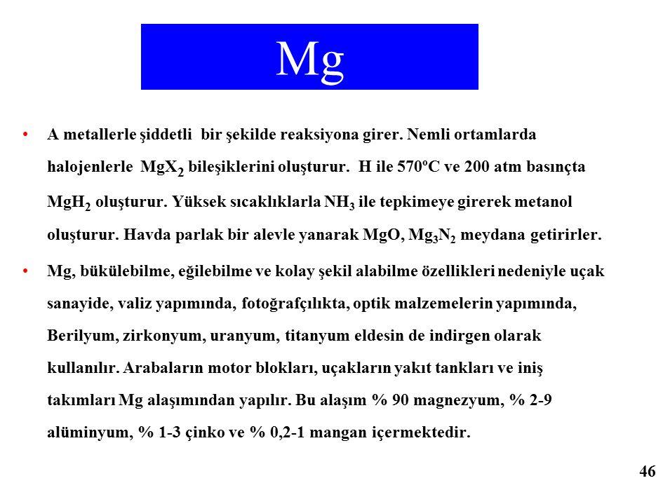 Mg A metallerle şiddetli bir şekilde reaksiyona girer. Nemli ortamlarda halojenlerle MgX 2 bileşiklerini oluşturur. H ile 570ºC ve 200 atm basınçta Mg