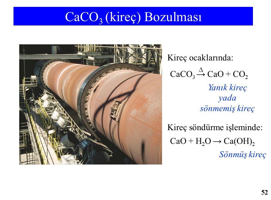 CaCO 3 (kireç) Bozulması CaO + H 2 O → Ca(OH) 2 Sönmüş kireç Kireç söndürme işleminde: CaCO 3 → CaO + CO 2 Yanık kireç yada sönmemiş kireç Kireç ocakl