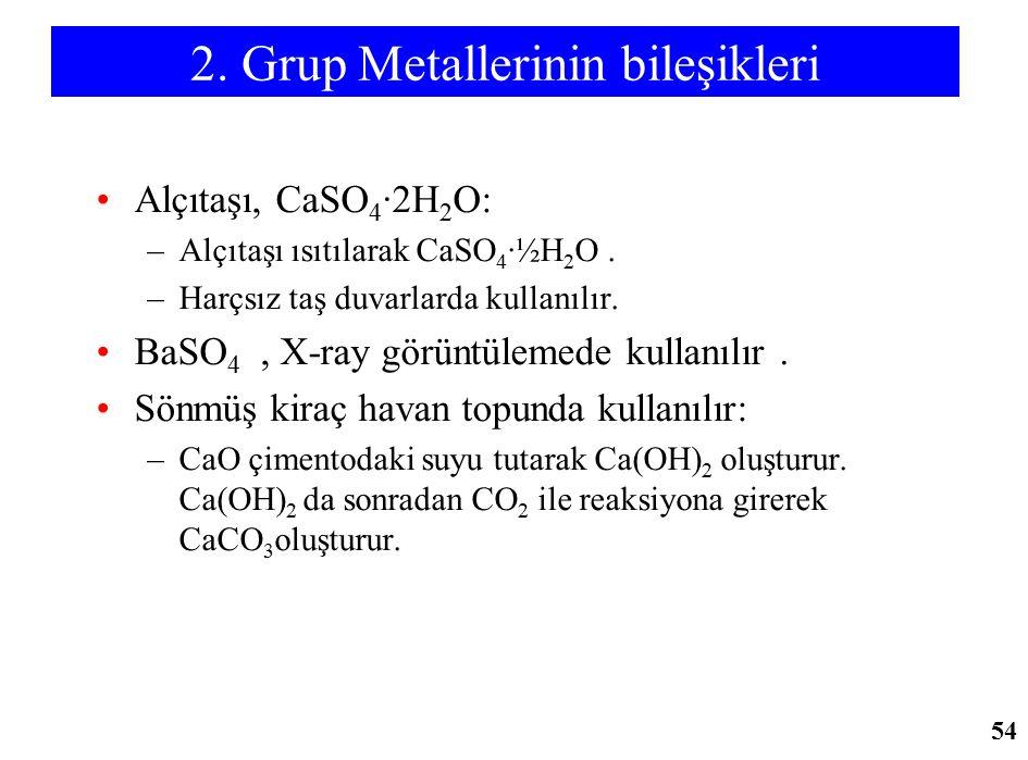 2. Grup Metallerinin bileşikleri Alçıtaşı, CaSO 4 ·2H 2 O: –Alçıtaşı ısıtılarak CaSO 4 ·½H 2 O. –Harçsız taş duvarlarda kullanılır. BaSO 4, X-ray görü