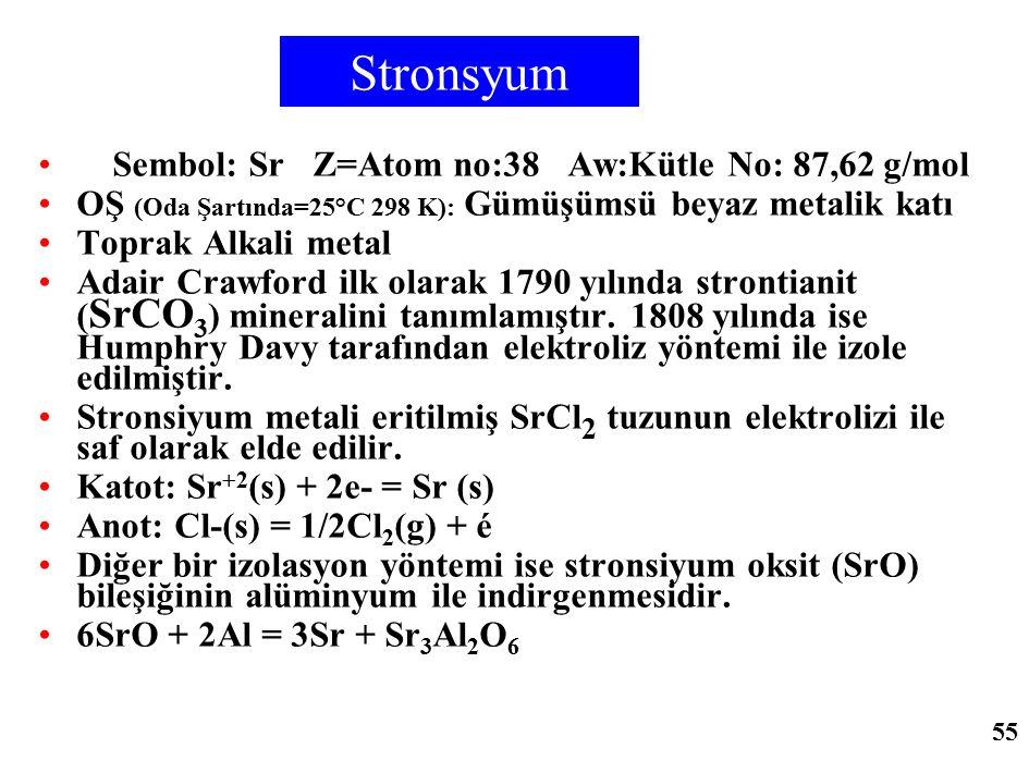 Stronsyum Sembol: Sr Z=Atom no:38 Aw:Kütle No: 87,62 g/mol OŞ (Oda Şartında=25°C 298 K): Gümüşümsü beyaz metalik katı Toprak Alkali metal Adair Crawfo
