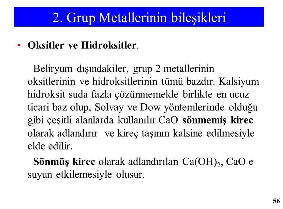 2. Grup Metallerinin bileşikleri Oksitler ve Hidroksitler. Beliryum dışındakiler, grup 2 metallerinin oksitlerinin ve hidroksitlerinin tümü bazdır. Ka