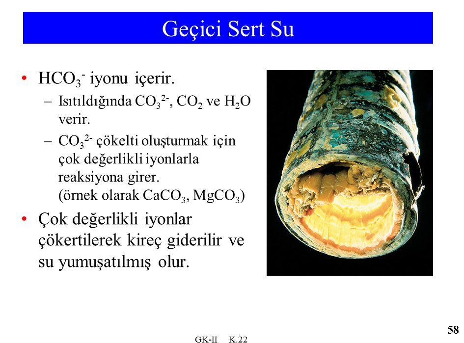 GK-II K.22 Geçici Sert Su HCO 3 - iyonu içerir. –Isıtıldığında CO 3 2-, CO 2 ve H 2 O verir. –CO 3 2- çökelti oluşturmak için çok değerlikli iyonlarla