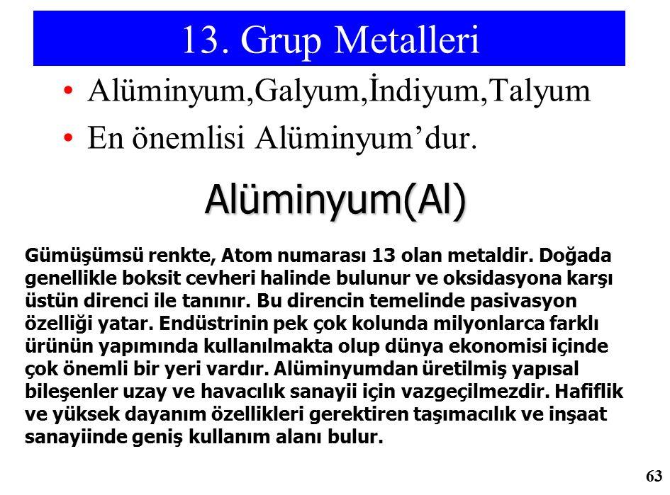 13. Grup Metalleri Alüminyum,Galyum,İndiyum,Talyum En önemlisi Alüminyum'dur. Alüminyum(Al) Gümüşümsü renkte, Atom numarası 13 olan metaldir. Doğada g