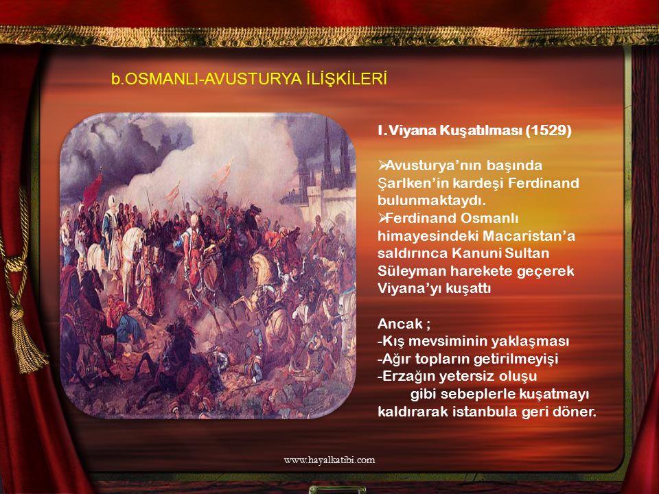 I.Viyana Ku ş atılması (1529)  Avusturya'nın ba ş ında Ş arlken'in karde ş i Ferdinand bulunmaktaydı.  Ferdinand Osmanlı himayesindeki Macaristan'a