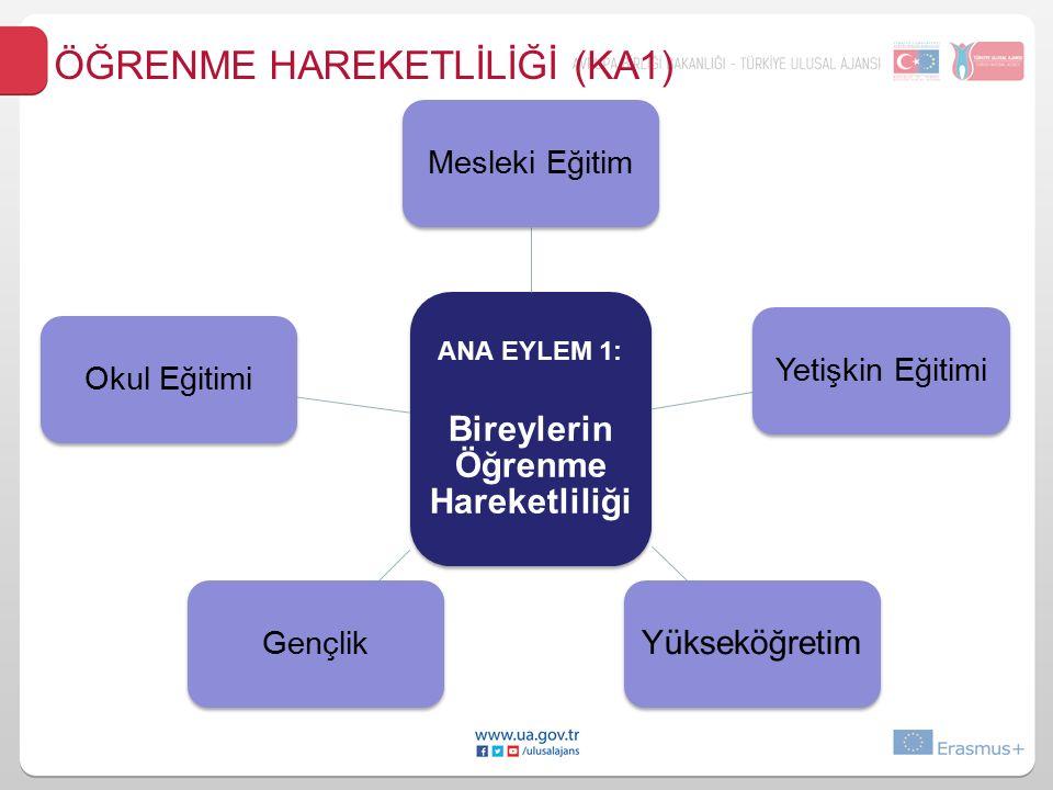ANA EYLEM 1: Bireylerin Öğrenme Hareketliliği Mesleki EğitimYetişkin Eğitimi Yükseköğretim GençlikOkul Eğitimi ÖĞRENME HAREKETLİLİĞİ (KA1)
