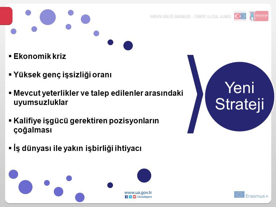 Yeni Strateji  Ekonomik kriz  Yüksek genç işsizliği oranı  Mevcut yeterlikler ve talep edilenler arasındaki uyumsuzluklar  Kalifiye işgücü gerektiren pozisyonların çoğalması  İş dünyası ile yakın işbirliği ihtiyacı