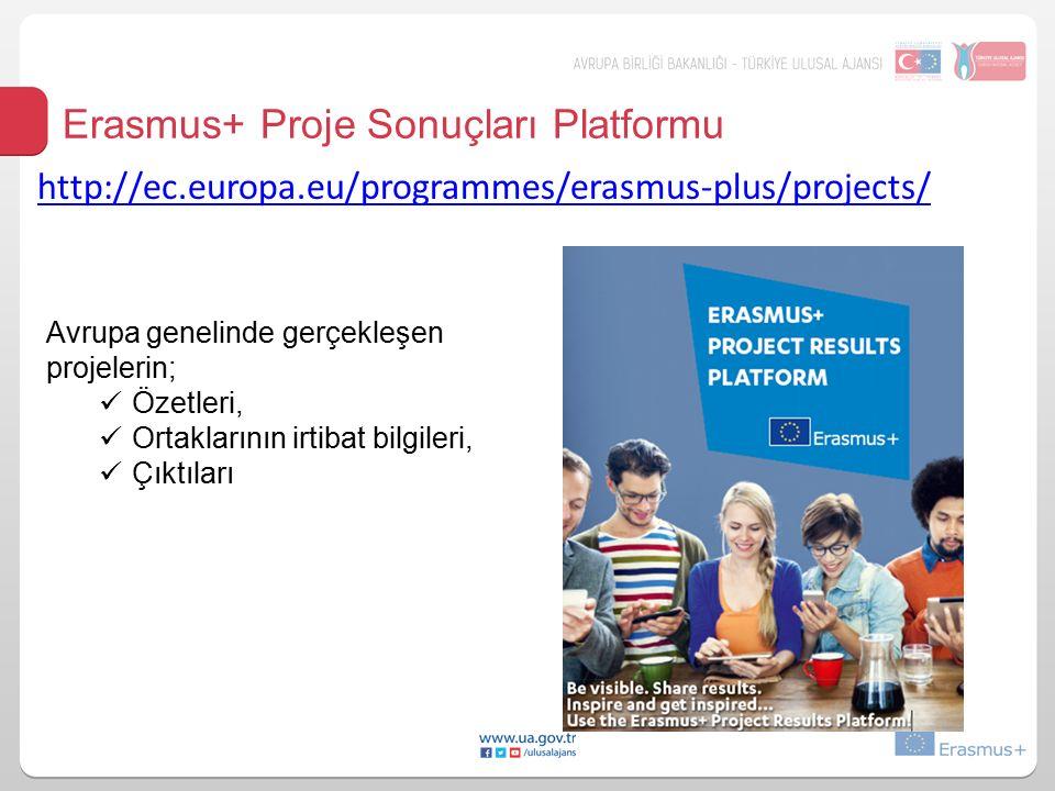 Erasmus+ Proje Sonuçları Platformu Avrupa genelinde gerçekleşen projelerin; Özetleri, Ortaklarının irtibat bilgileri, Çıktıları http://ec.europa.eu/programmes/erasmus-plus/projects/