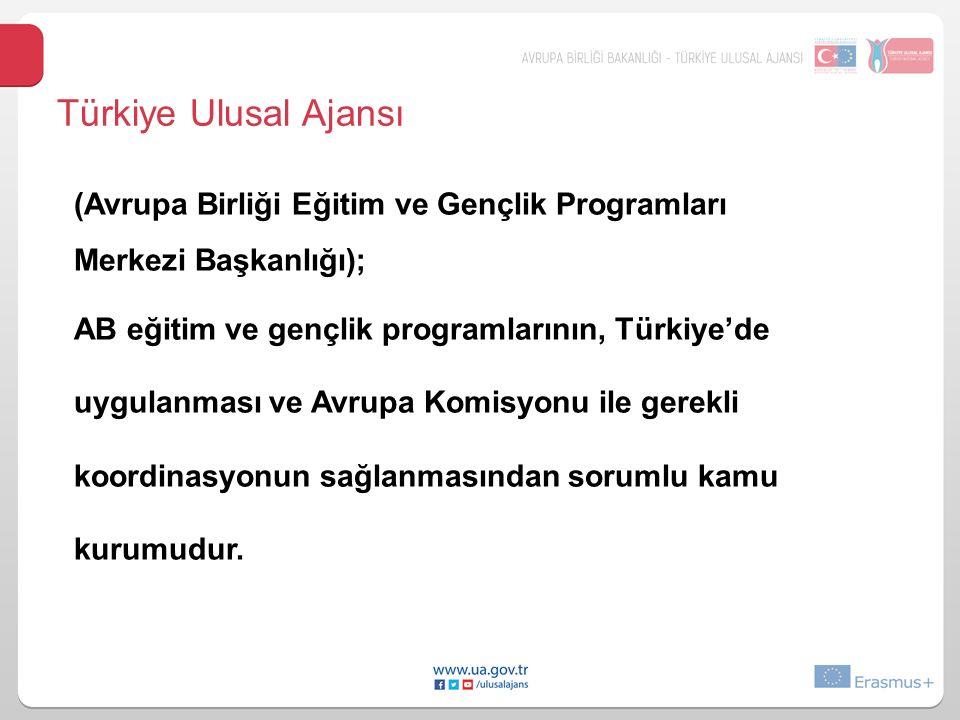 Türkiye Ulusal Ajansı (Avrupa Birliği Eğitim ve Gençlik Programları Merkezi Başkanlığı); AB eğitim ve gençlik programlarının, Türkiye'de uygulanması ve Avrupa Komisyonu ile gerekli koordinasyonun sağlanmasından sorumlu kamu kurumudur.