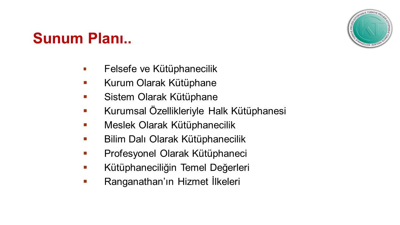 Sunum Planı..  Felsefe ve Kütüphanecilik  Kurum Olarak Kütüphane  Sistem Olarak Kütüphane  Kurumsal Özellikleriyle Halk Kütüphanesi  Meslek Olara