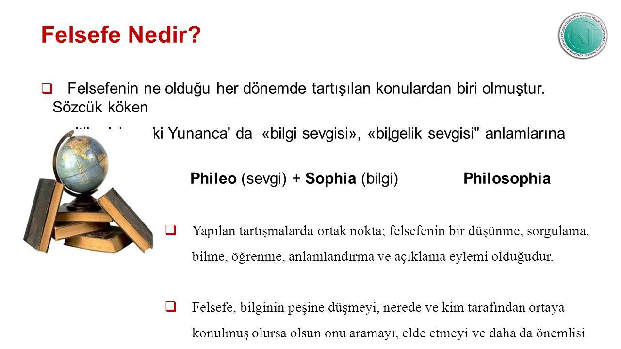 Felsefe Nedir?  Felsefenin ne olduğu her dönemde tartışılan konulardan biri olmuştur. Sözcük köken itibariyle eski Yunanca' da «bilgi sevgisi», «bilg