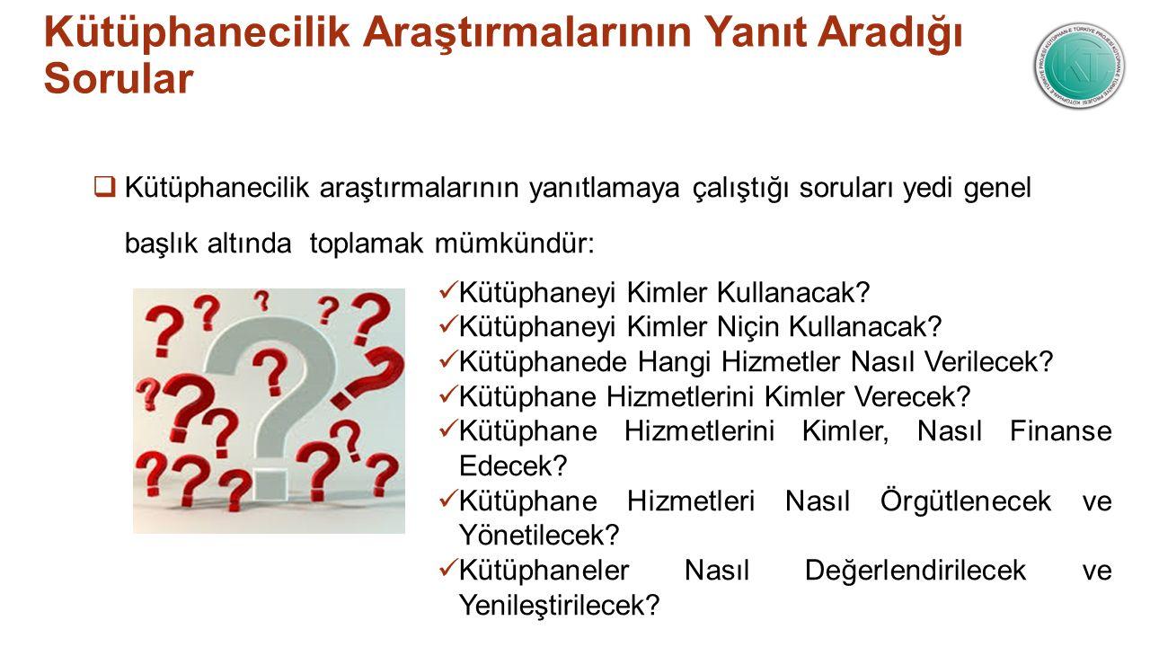 Kütüphanecilik Araştırmalarının Yanıt Aradığı Sorular  Kütüphanecilik araştırmalarının yanıtlamaya çalıştığı soruları yedi genel başlık altında topla