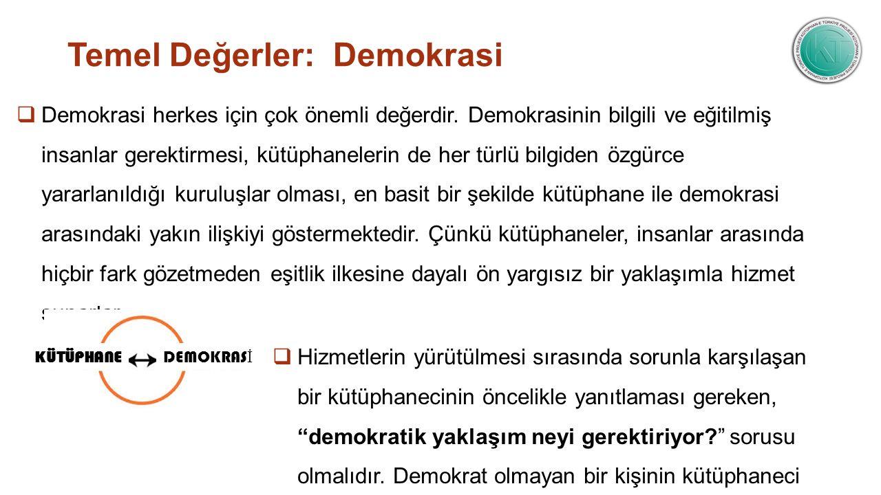 Temel Değerler: Demokrasi  Demokrasi herkes için çok önemli değerdir. Demokrasinin bilgili ve eğitilmiş insanlar gerektirmesi, kütüphanelerin de her