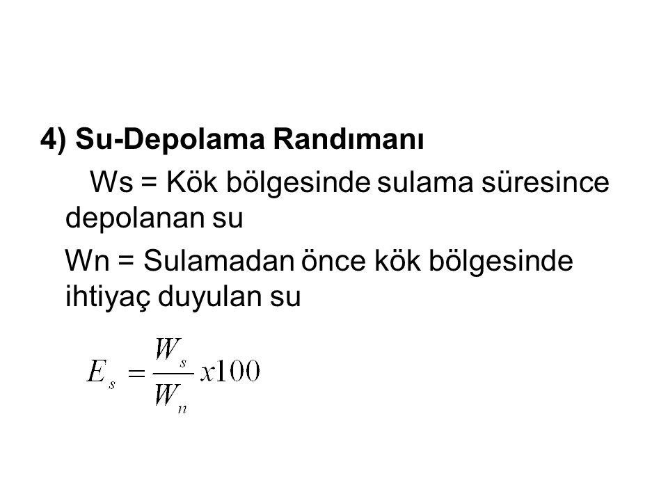 4) Su-Depolama Randımanı Ws = Kök bölgesinde sulama süresince depolanan su Wn = Sulamadan önce kök bölgesinde ihtiyaç duyulan su