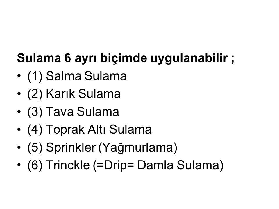 Sulama 6 ayrı biçimde uygulanabilir ; (1) Salma Sulama (2) Karık Sulama (3) Tava Sulama (4) Toprak Altı Sulama (5) Sprinkler (Yağmurlama) (6) Trinckle