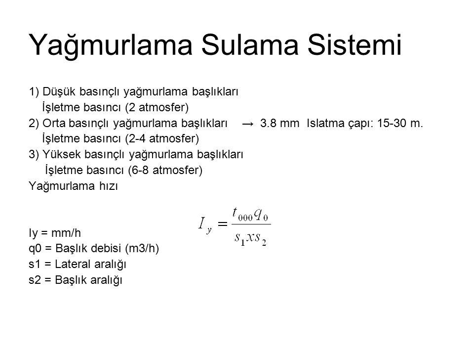 Yağmurlama Sulama Sistemi 1) Düşük basınçlı yağmurlama başlıkları İşletme basıncı (2 atmosfer) 2) Orta basınçlı yağmurlama başlıkları → 3.8 mm Islatma