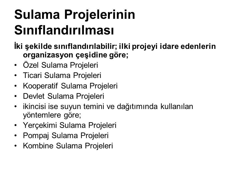 Sulama Projelerinin Sınıflandırılması İki şekilde sınıflandırılabilir; ilki projeyi idare edenlerin organizasyon çeşidine göre; Özel Sulama Projeleri