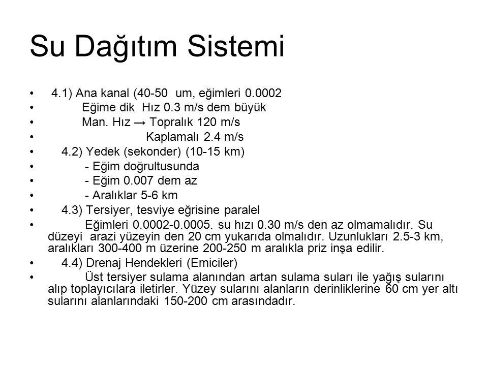 Su Dağıtım Sistemi 4.1) Ana kanal (40-50 um, eğimleri 0.0002 Eğime dik Hız 0.3 m/s dem büyük Man. Hız → Topralık 120 m/s Kaplamalı 2.4 m/s 4.2) Yedek