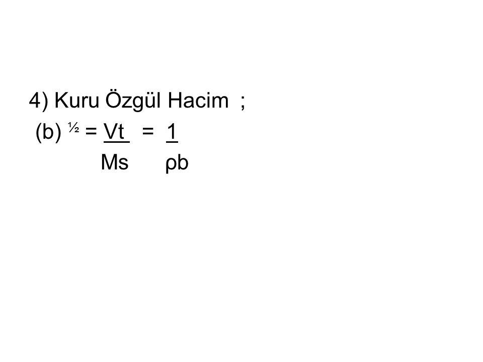 4) Kuru Özgül Hacim ; (b) ½ = Vt = 1 Ms ρb