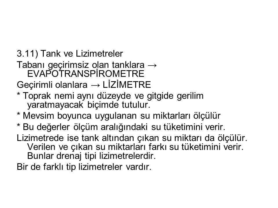 3.11) Tank ve Lizimetreler Tabanı geçirimsiz olan tanklara → EVAPOTRANSPİROMETRE Geçirimli olanlara → LİZİMETRE * Toprak nemi aynı düzeyde ve gitgide