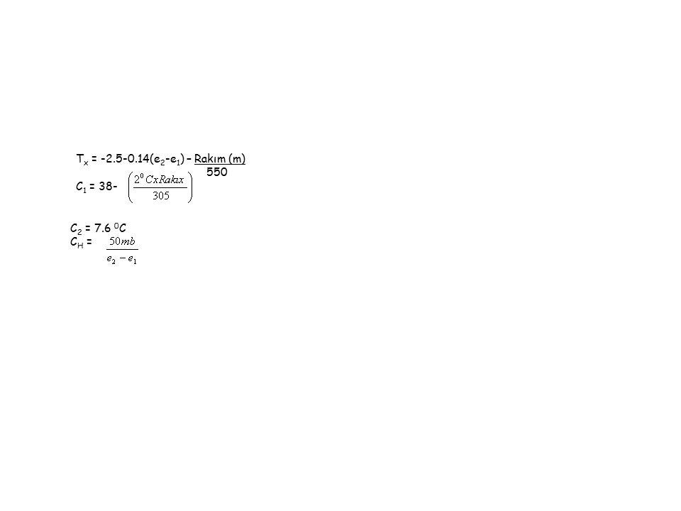 T x = -2.5-0.14(e 2 -e 1 ) – Rakım (m) 550 C 1 = 38- C 2 = 7.6 0 C C H =