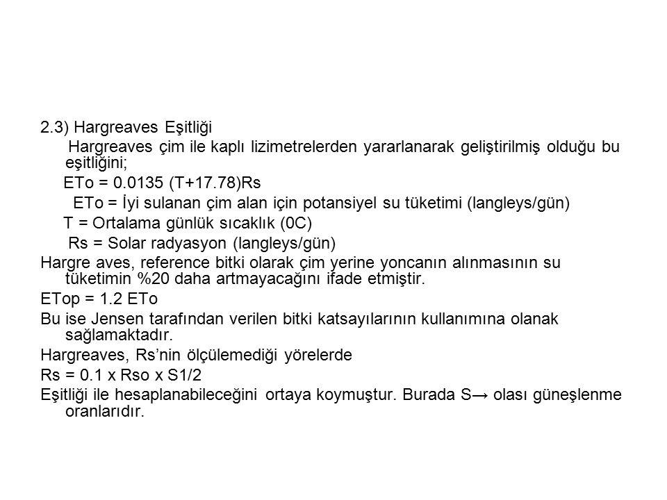 2.3) Hargreaves Eşitliği Hargreaves çim ile kaplı lizimetrelerden yararlanarak geliştirilmiş olduğu bu eşitliğini; ETo = 0.0135 (T+17.78)Rs ETo = İyi